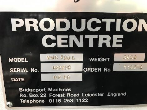 BRIDGEPORT VMC 800 VERTICAL MACHINING CENTRE