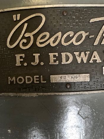 F J EDWARDS BESCO TRUFOLD 612 A/S MANUAL SHEET METAL FOLDER