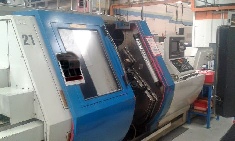 GILDEMEISTER MF TWIN 65 TWIN SPINDLE CNC TURNING CENTRE WITH 12 STATION REVOLVER HEADS